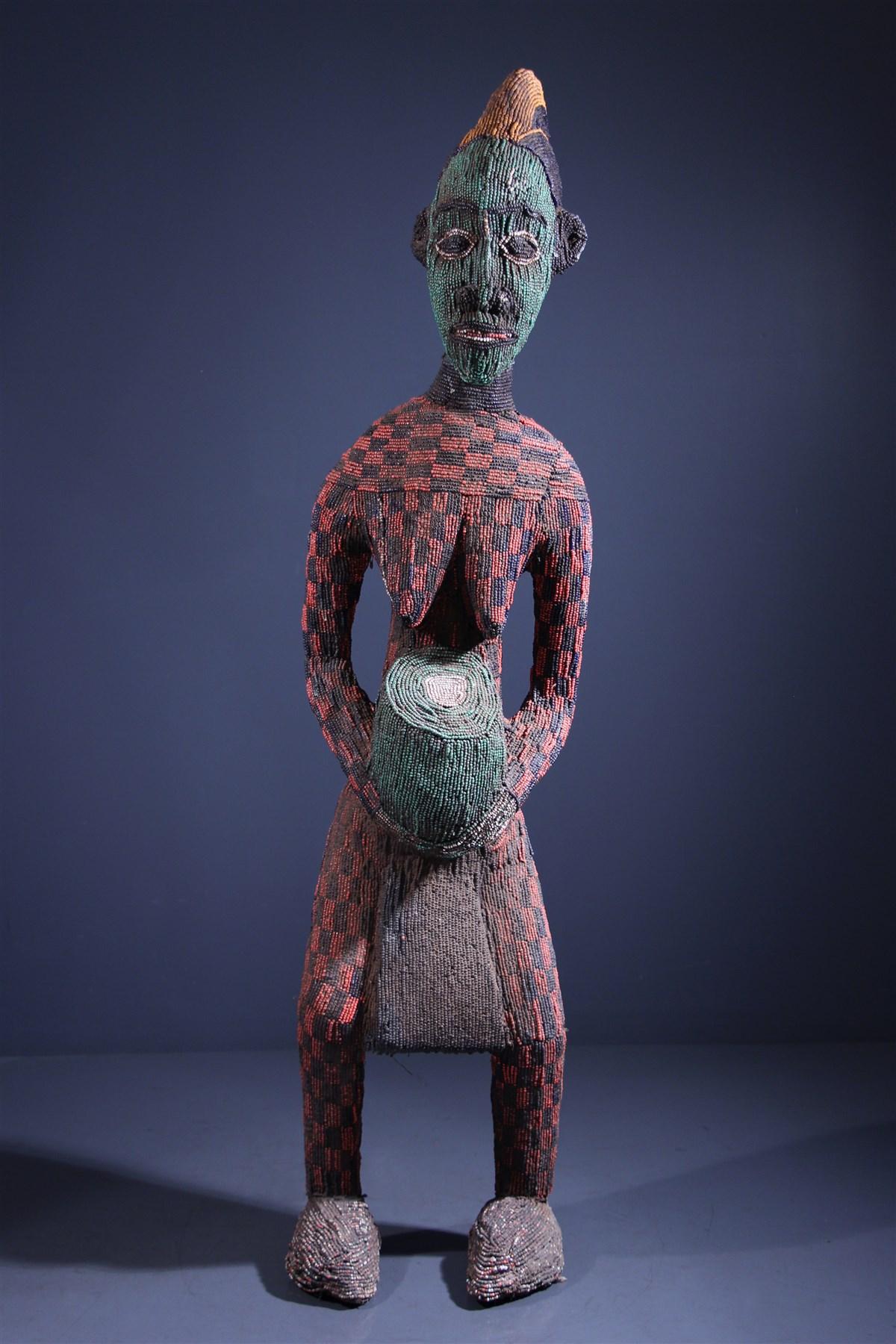 Grande statue perlée Bamileke - Art africain