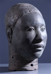 bronze africainTête commémorative Oni Ife Bini Edo