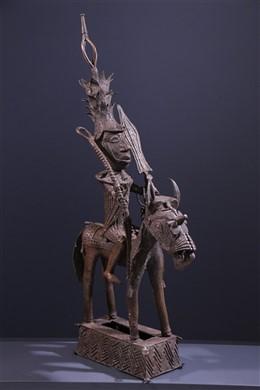 Grand Cavalier en bronze Yoruba