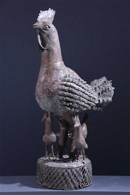 Coq Okpa en bronze Benin Bini Edo