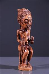 Statuette de roi Baoulé en ivoire ancien