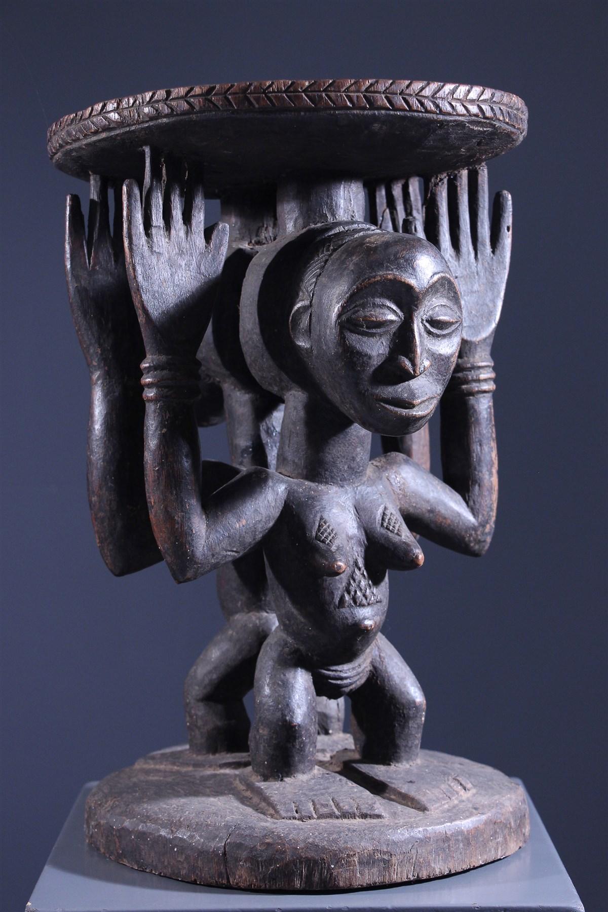 Tabouret cariatidique Luba - Art africain