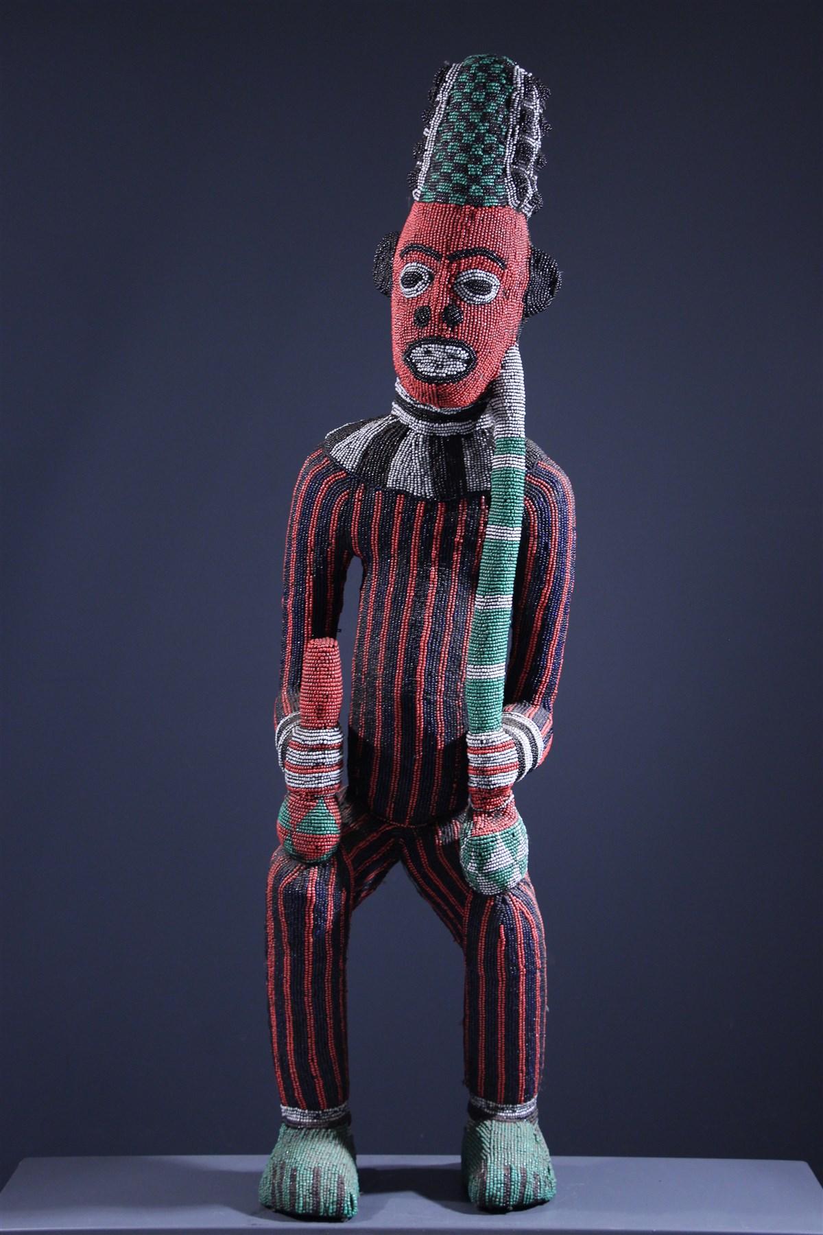 Grand statue perlée Bamileke - Art africain