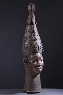 Grande tête d autel royal Benin en bronze