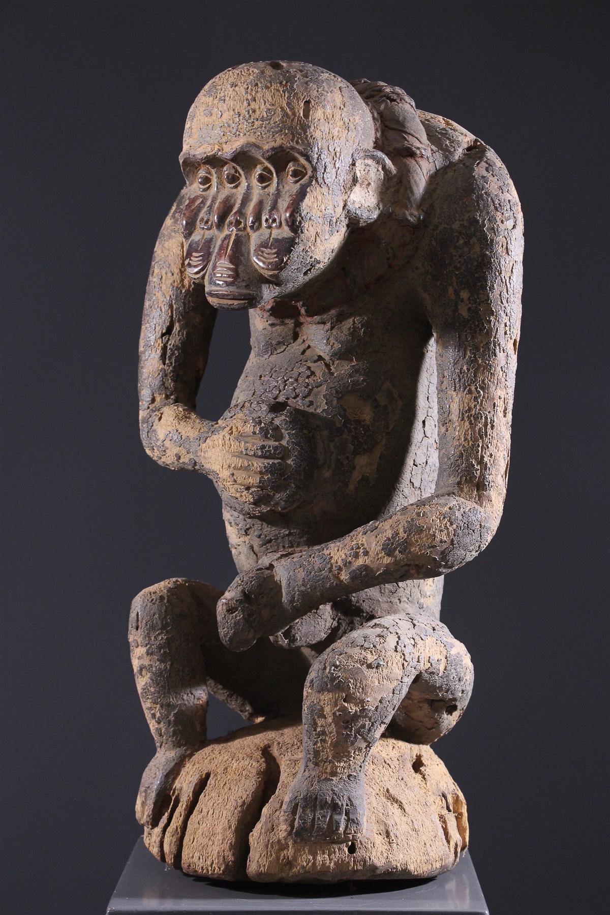 statue africaine tete de singe