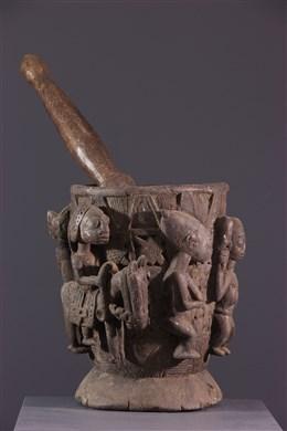 Pot à remèdes et pilon Yoruba
