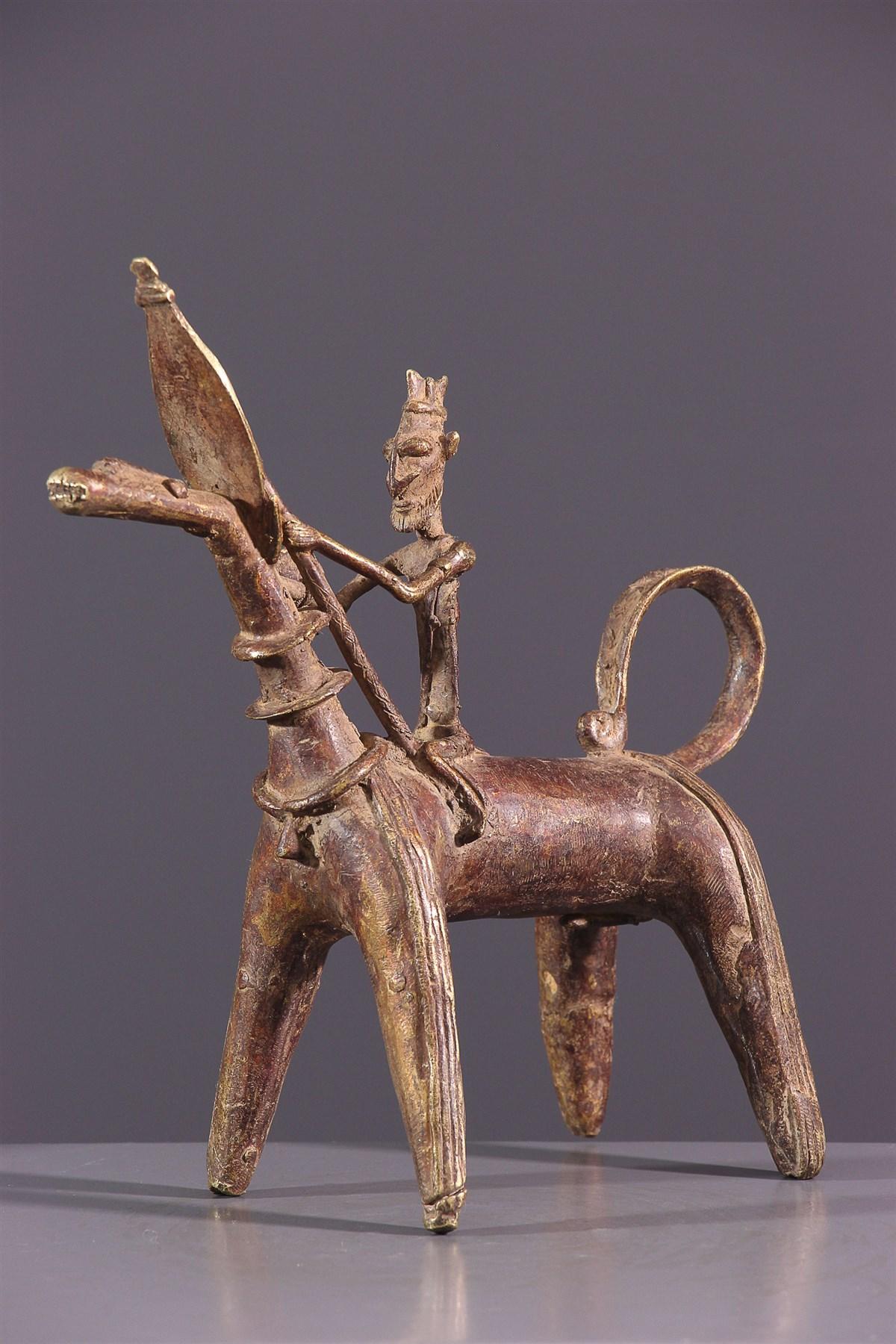 Cavalier Dogon en bronze - art primitif