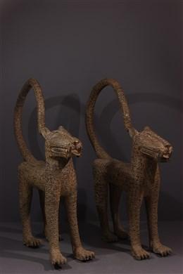 Couple de grands léopards Benin Bini Edo en bronze