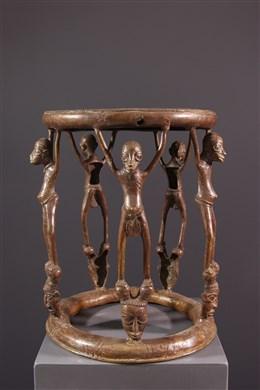 Art africain - Tabouret de prestige Tikar en bronze