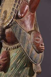 Statues africainesFigures d autel Yoruba polychrome