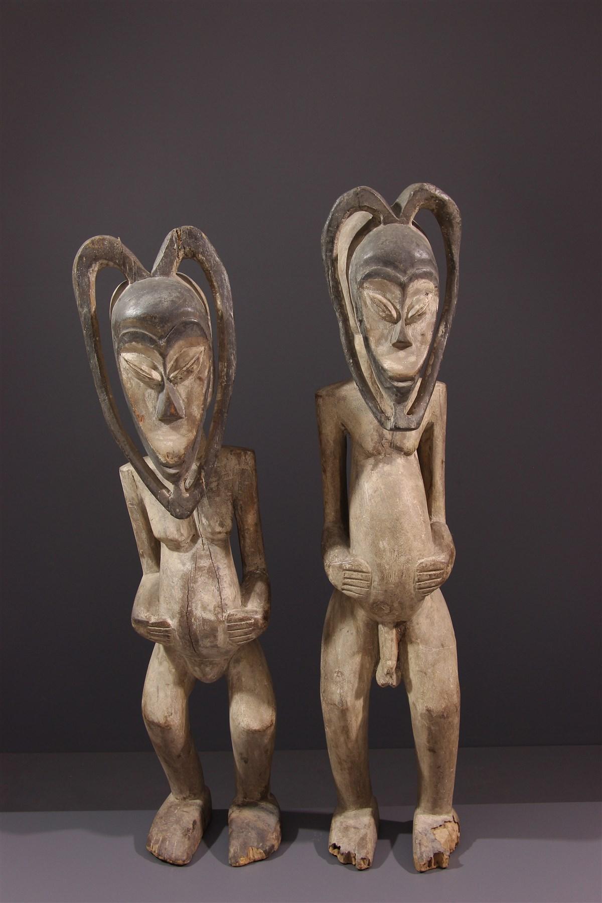 Couple de statues Kwélé - Art africain