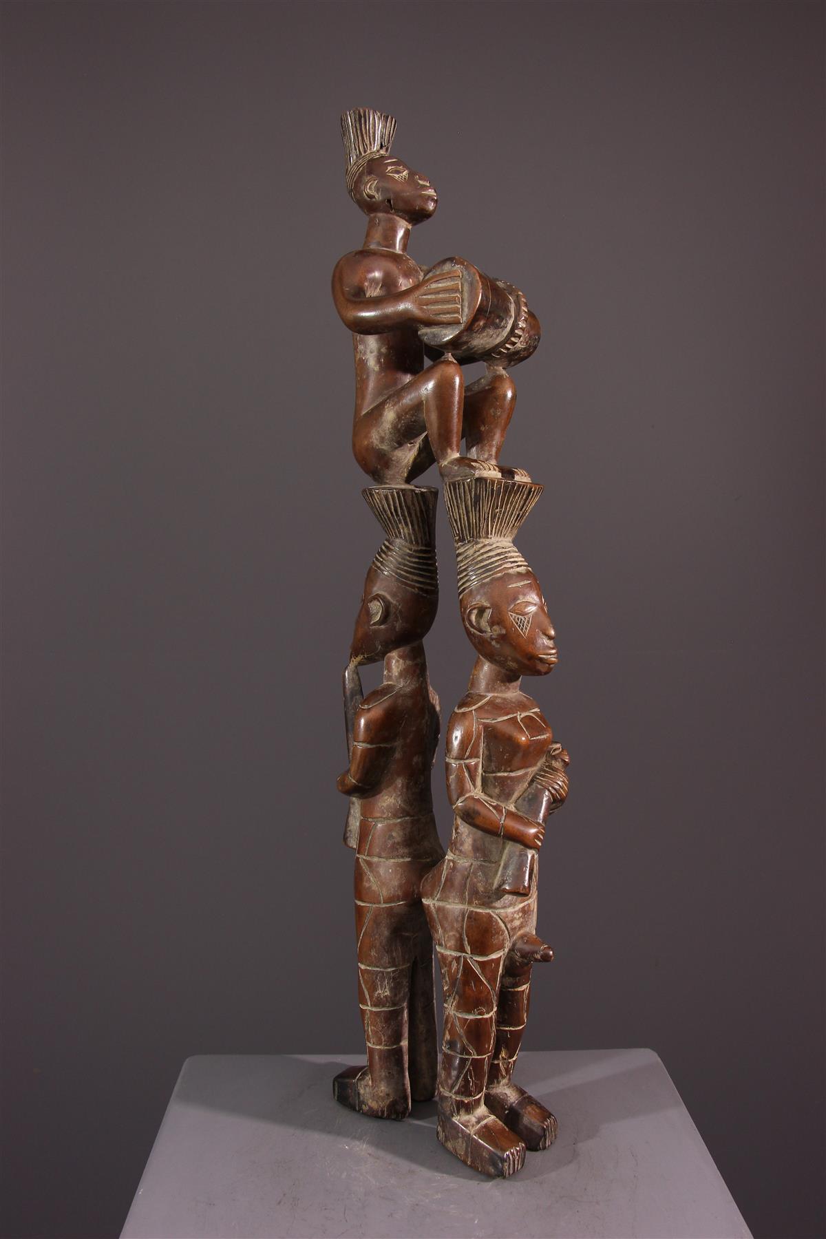 Trio de musiciens Mangbetu - Art africain