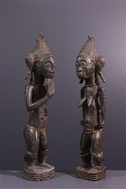Couple de statues Baoulé Asiè Usu