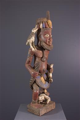 Figure d autel Yoruba polychrome