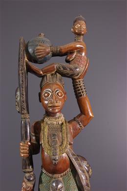 Figures d autel Yoruba polychrome
