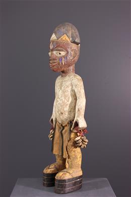 Art africain - Statue commémorative Yoruba polychrome