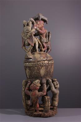 Coupe votive Yoruba polychrome