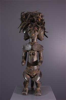 Figure d ancêtre Fang Ntumu tricéphale
