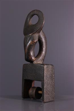 Etrier de poulie de métier à tisser Konantré Baoulé Gouro
