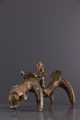 Figure de cavalier Dogon en bronze