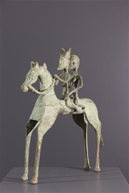 Figure équestre Dogon en bronze