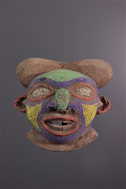 Art africain - Masque Bamoun perlé