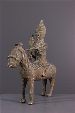 Figure de cavalier Bénin en bronze