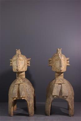Couple de grands masques d épaules Baga Nimba