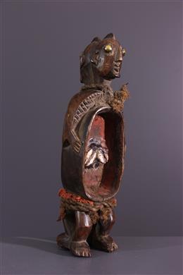 Statuette double coupe Gbene Koro