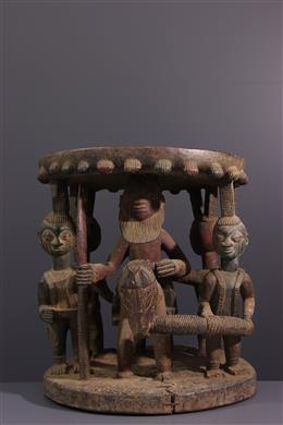 Table / Tabouret Yoruba polychrome