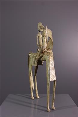 Art africain - Figure équestre Dogon en bronze