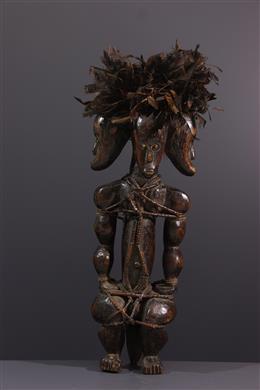 Art africain - Statue de reliquaire du Byeri Fang tricéphale