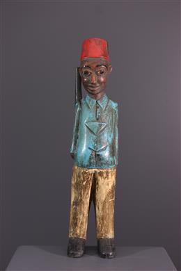 """Art africain - Statue de """"colon"""" Baule"""