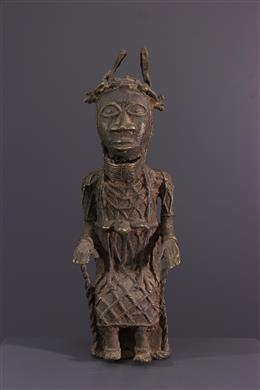 Art africain - Figure de roi Bénin en bronze