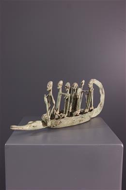 Art africain - Pirogue Dogon en bronze