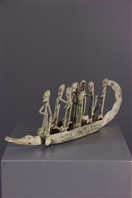 Art africain - Pirogue Dogon en bronze