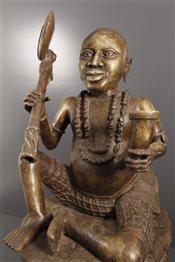 bronze africainStatue Oba assis Benin Bini Edo