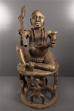 Art africain - Statue Oba assis Benin Bini Edo