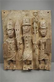Grande plaque royale bronze Benin Bini Edo