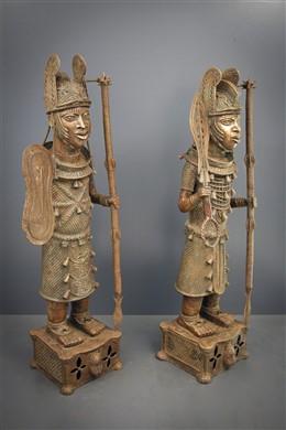 Couple d Obas en tenue de guerre Benin Bini Edo