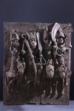 Grande plaque bronze royale Benin Bini Edo