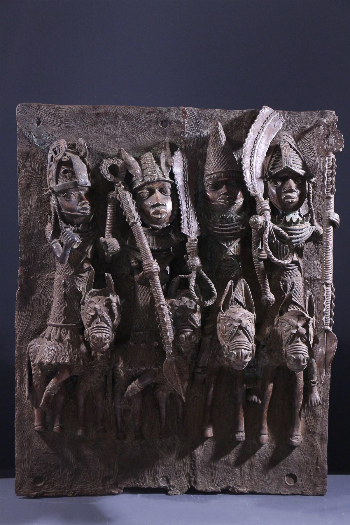 Grande plaque bronze royale Benin Bini Edo - Art africain