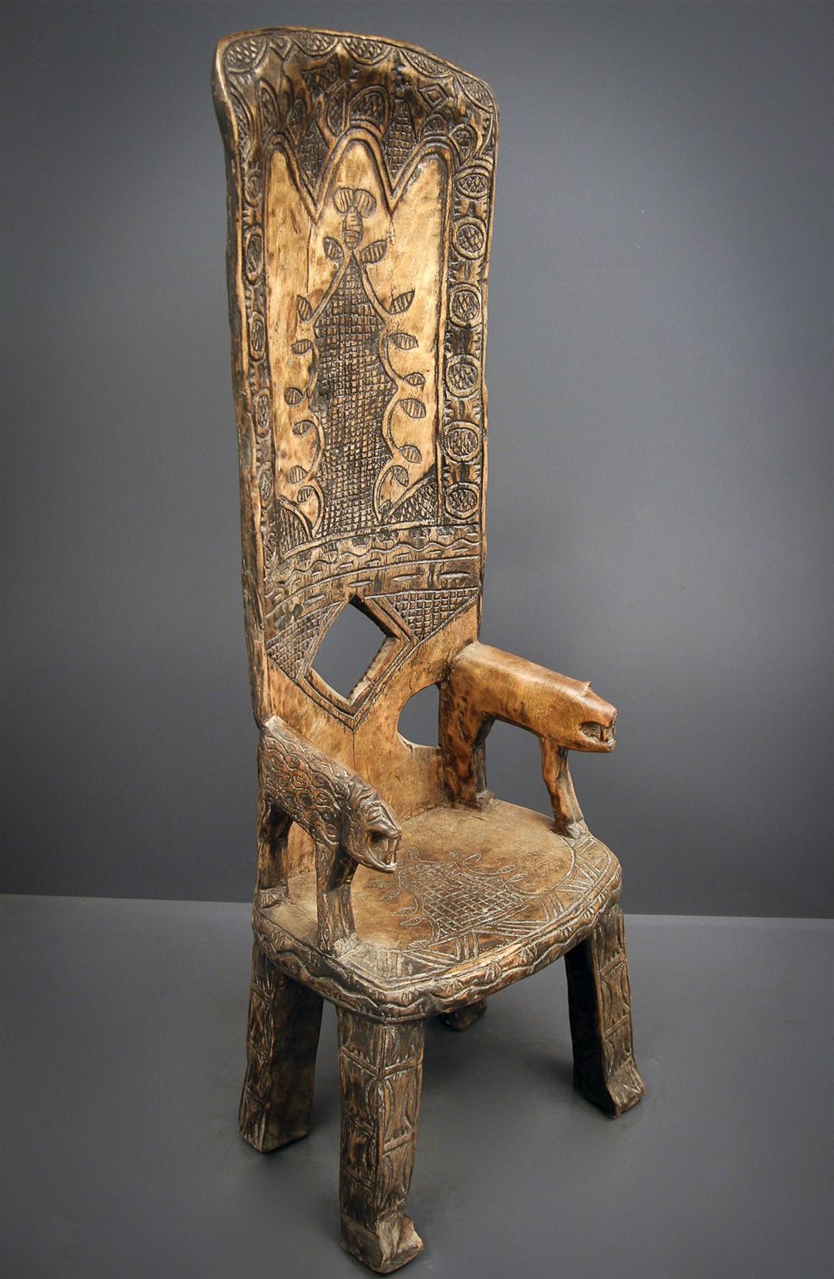 Chaise de dignitaire baoul 6118 chaise art africain - Chaise en bois africaine ...