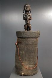 Art africain - Objets usuels - Gardien de reliquaire Fang Betsi avec sa boîte à ossement