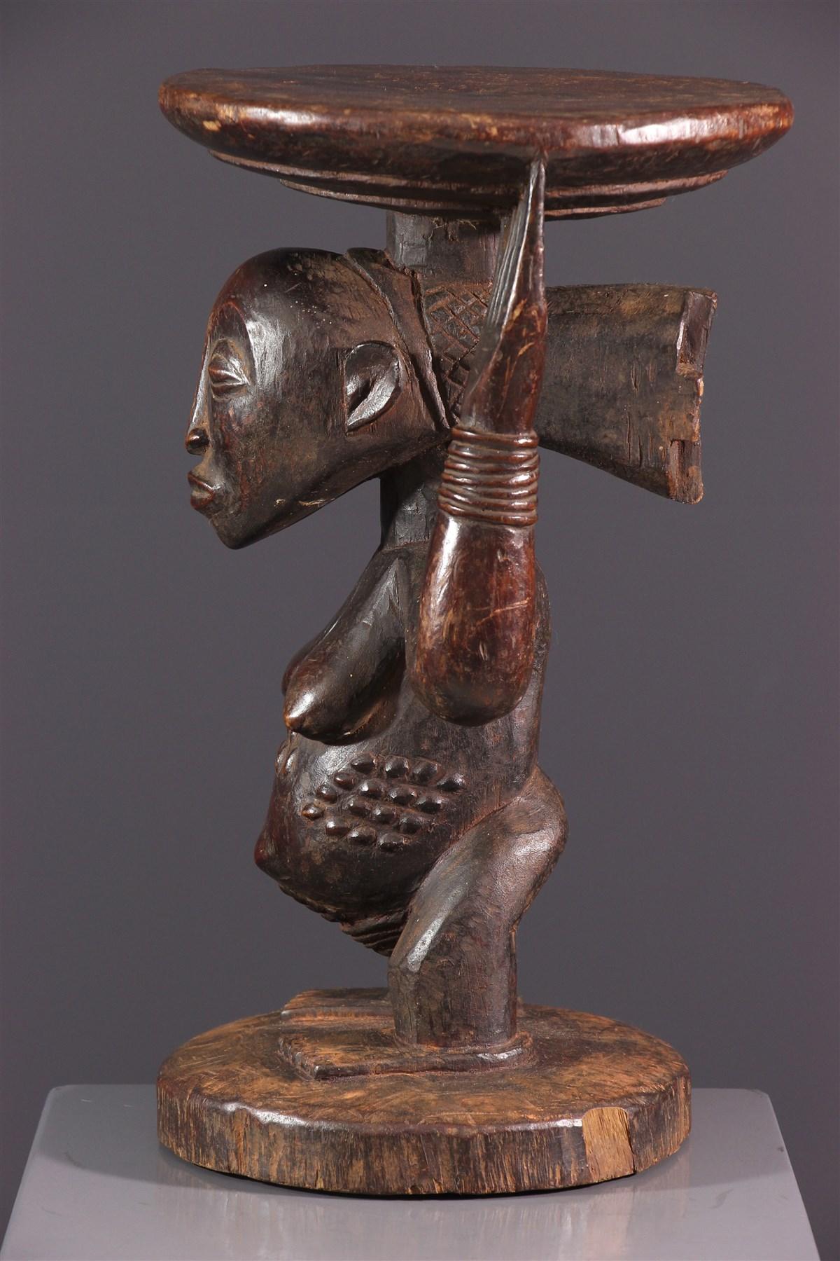 Siège à caryatide Luba - Art africain