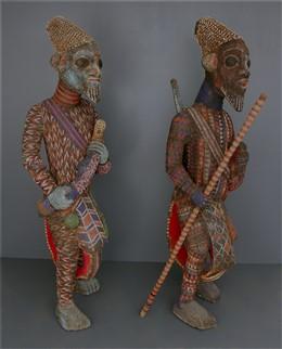 Couple de grands guerriers perlés Bamiléké