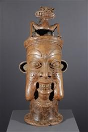 Art africain - Bronze - Tête en bronze Bamoun