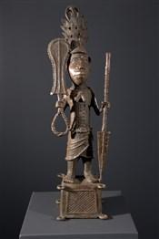 Art africain - Bronze - Statue roi Yoruba