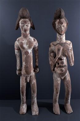 Couple de grandes statues Punu