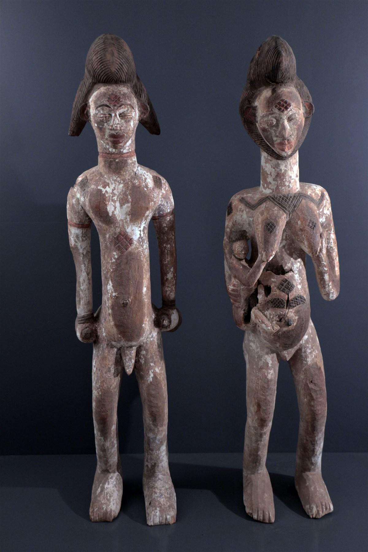 Couple de grandes statues Punu - Art africain
